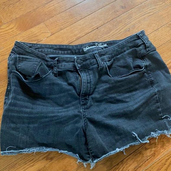 Black jean shorts high rise